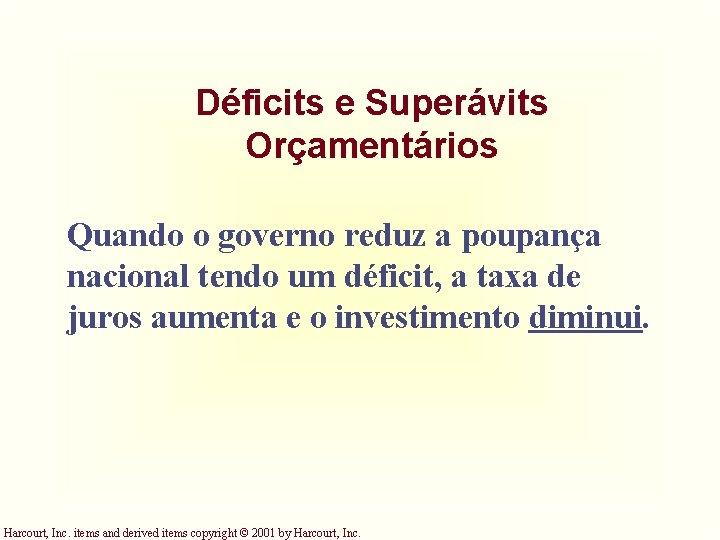 Déficits e Superávits Orçamentários Quando o governo reduz a poupança nacional tendo um déficit,