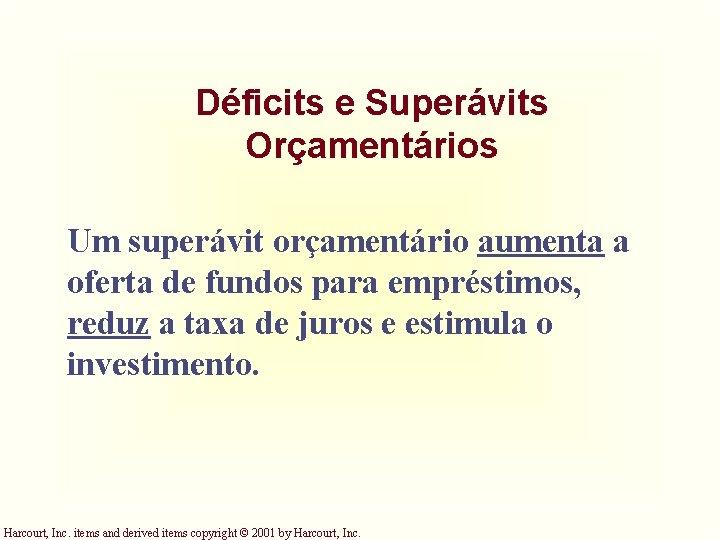 Déficits e Superávits Orçamentários Um superávit orçamentário aumenta a oferta de fundos para empréstimos,