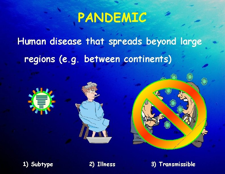 PANDEMIC Human disease that spreads beyond large regions (e. g. between continents) 1) Subtype