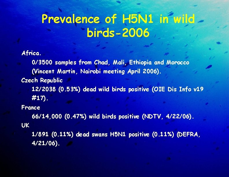 Prevalence of H 5 N 1 in wild birds-2006 Africa. 0/3500 samples from Chad,