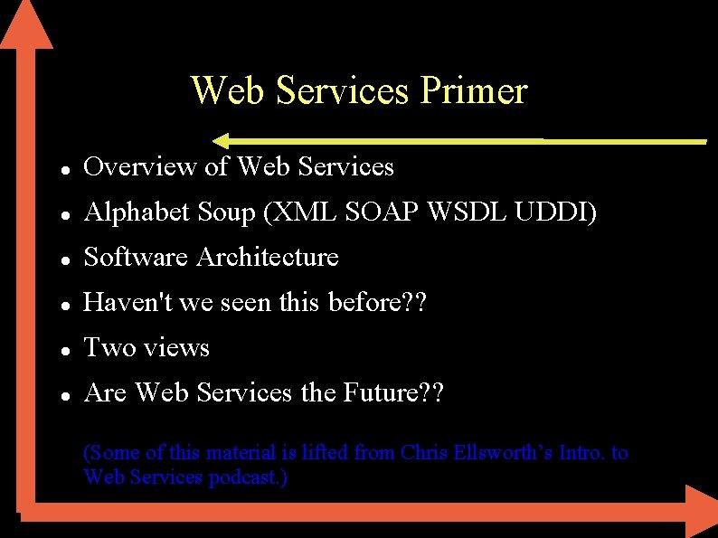 Web Services Primer Overview of Web Services Alphabet Soup (XML SOAP WSDL UDDI) Software