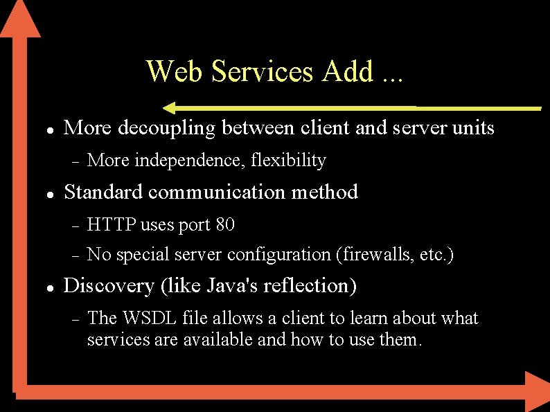 Web Services Add. . . More decoupling between client and server units More independence,