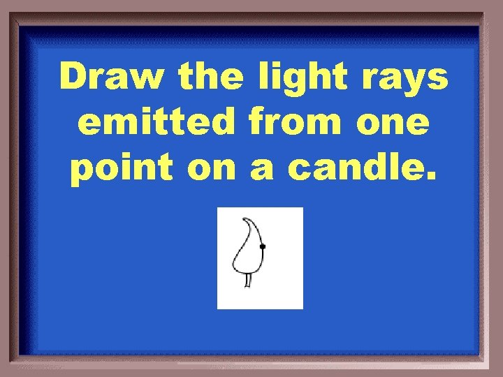 Draw the light rays emitted from one point on a candle.