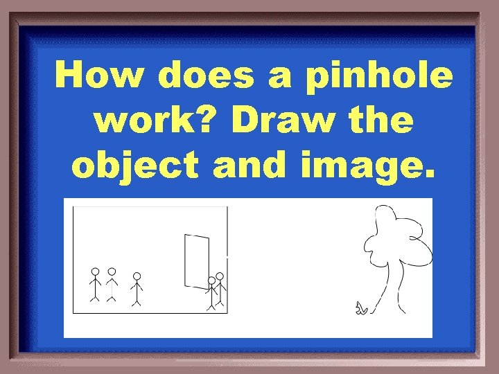 How does a pinhole work? Draw the object and image.