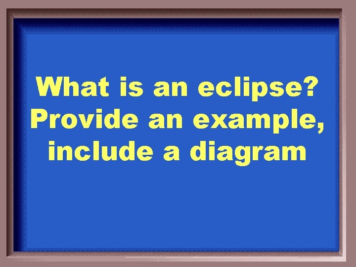 What is an eclipse? Provide an example, include a diagram