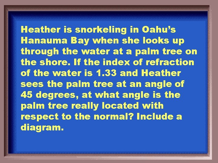 Heather is snorkeling in Oahu's Hanauma Bay when she looks up through the water