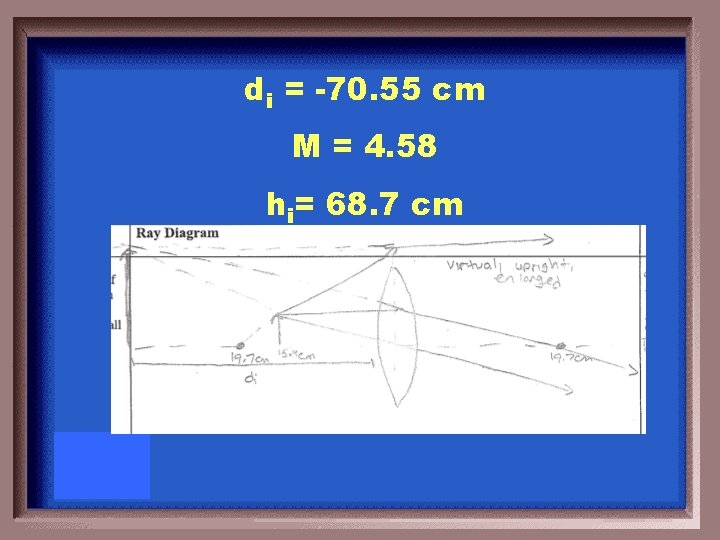 di = -70. 55 cm M = 4. 58 hi= 68. 7 cm