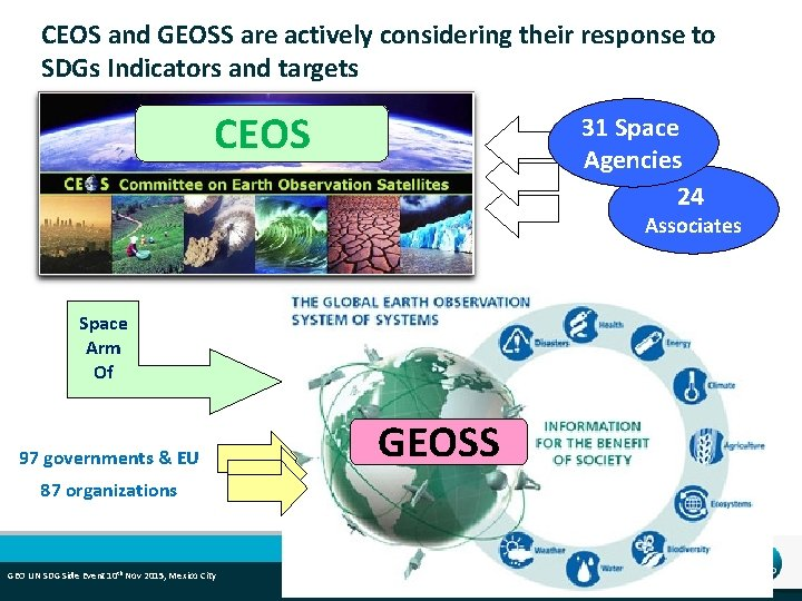 CEOS and GEOSS are actively considering their response to SDGs Indicators and targets CEOS