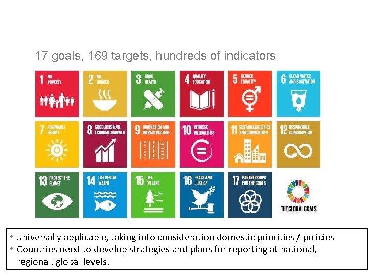The 2030 Agenda for Sustainable Development 17 goals, 169 targets, hundreds of indicators •