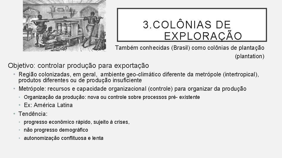 3. COLÔNIAS DE EXPLORAÇÃO Também conhecidas (Brasil) como colônias de plantação (plantation) Objetivo: controlar