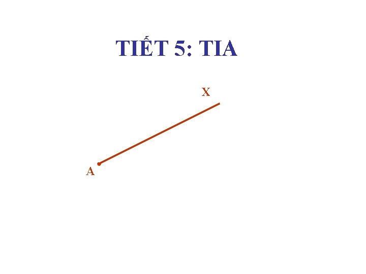 TIẾT 5: TIA X A