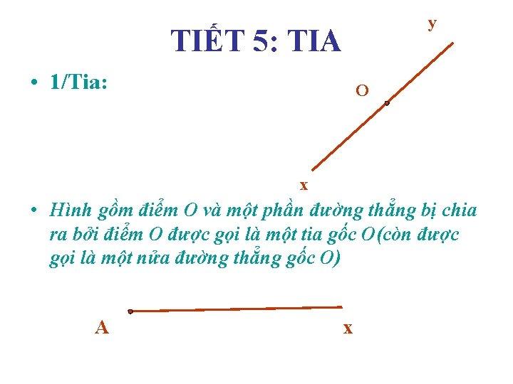 y TIẾT 5: TIA • 1/Tia: O x • Hình gồm điểm O và