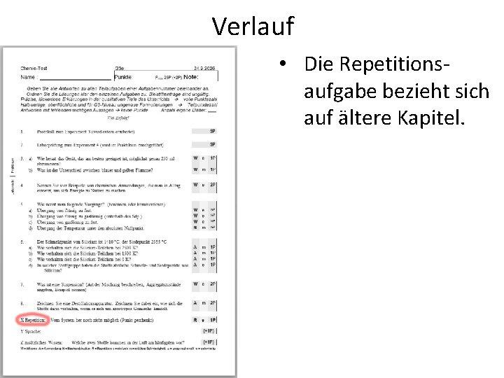 Verlauf • Die Repetitionsaufgabe bezieht sich auf ältere Kapitel.