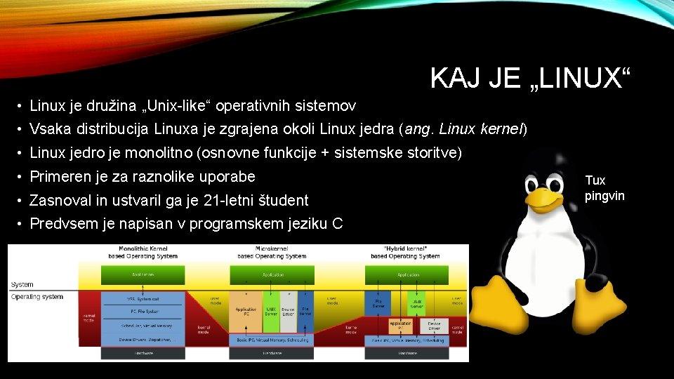 """KAJ JE """"LINUX"""" • Linux je družina """"Unix-like"""" operativnih sistemov • Vsaka distribucija Linuxa"""