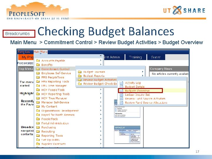 Breadcrumbs Checking Budget Balances Main Menu > Commitment Control > Review Budget Activities >