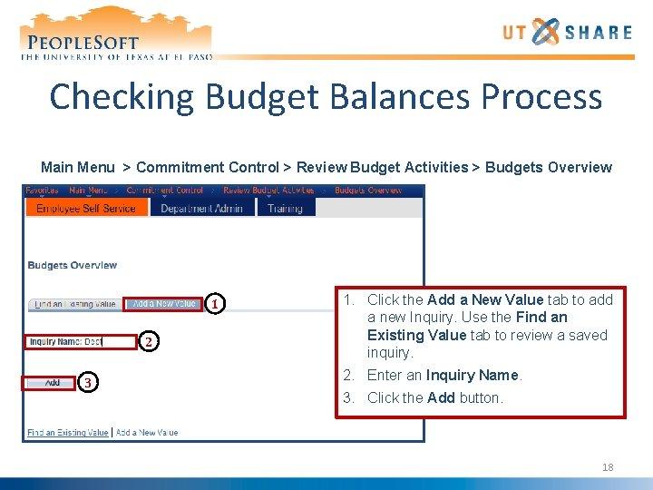 Checking Budget Balances Process Main Menu > Commitment Control > Review Budget Activities >