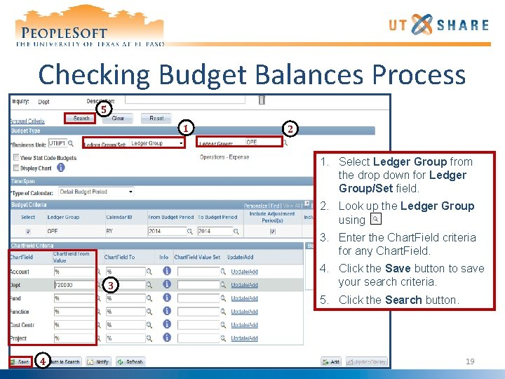 Checking Budget Balances Process 5 1 2 1. Select Ledger Group from the drop
