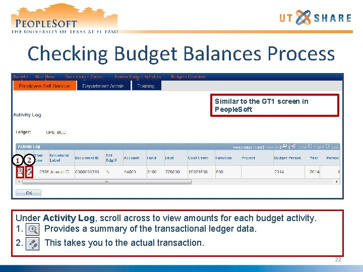 Checking Budget Balances Process Similar to the GT 1 screen in People. Soft 1