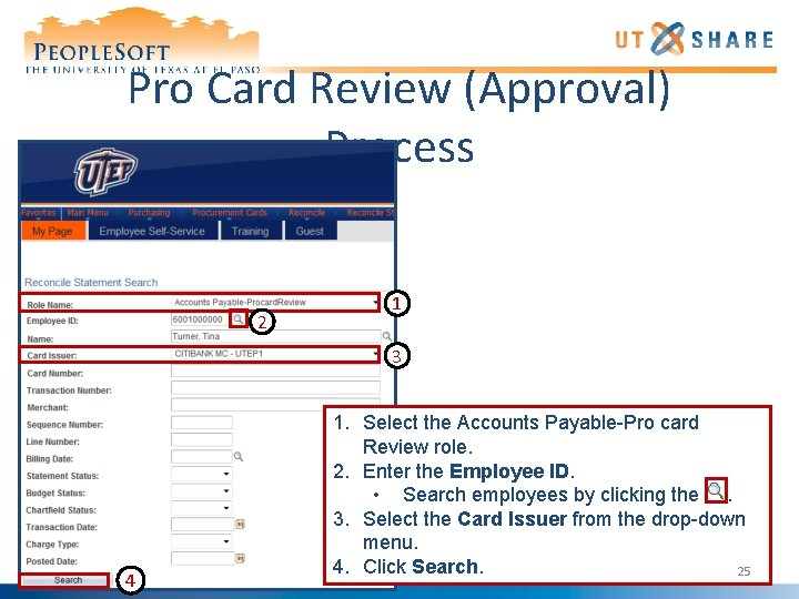 Pro Card Review (Approval) Process 2 1 3 4 1. Select the Accounts Payable-Pro