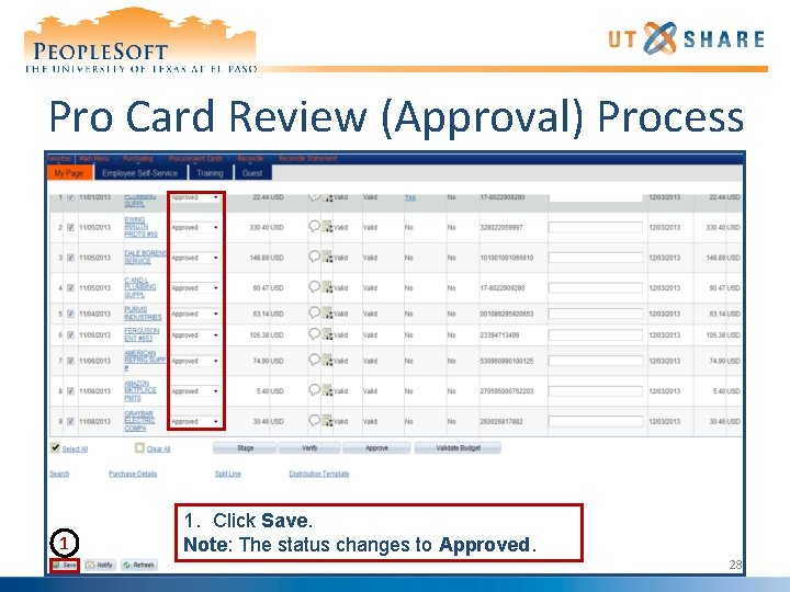 Pro Card Review (Approval) Process 1 1. Click Save. Note: The status changes to