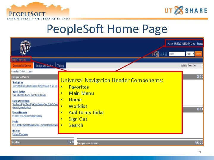 People. Soft Home Page Universal Navigation Header Components: • • Favorites Main Menu Home