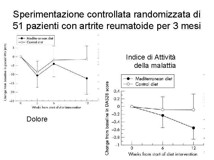 Sperimentazione controllata randomizzata di 51 pazienti con artrite reumatoide per 3 mesi Indice di
