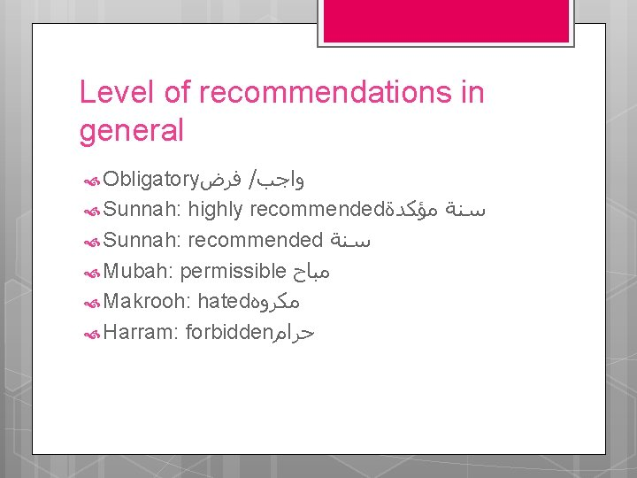 Level of recommendations in general / ﻭﺍﺟﺐ Sunnah: highly recommended ﺳﻨﺔ ﻣﺆﻜﺪﺓ Sunnah: recommended