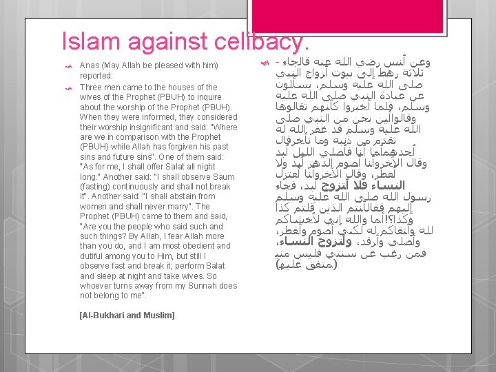 Islam against celibacy. Anas (May Allah be pleased with him) reported: Three men came