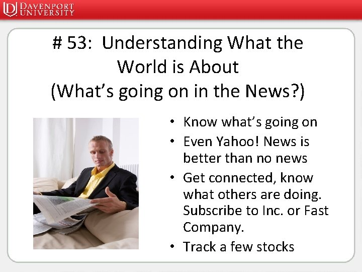 # 53: Understanding What the World is About (What's going on in the News?