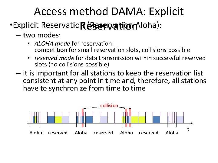 Access method DAMA: Explicit • Explicit Reservation (Reservation Aloha): Reservation – two modes: •