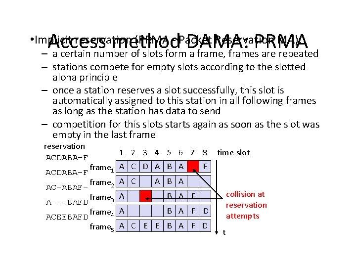 Access method DAMA: PRMA – a certain number of slots form a frame, frames