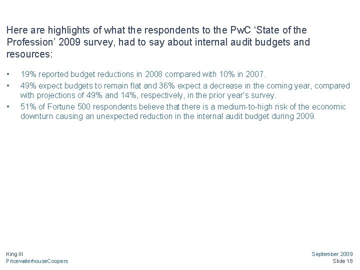 Here are highlights of what the respondents to the Pw. C 'State of the