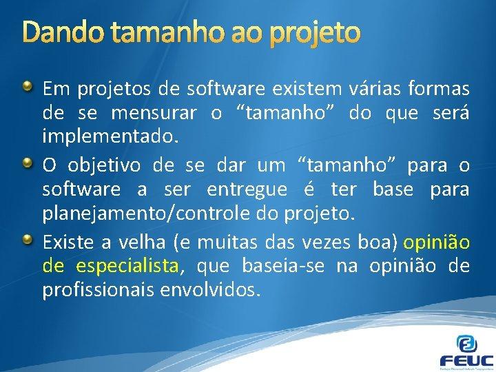 Dando tamanho ao projeto Em projetos de software existem várias formas de se mensurar