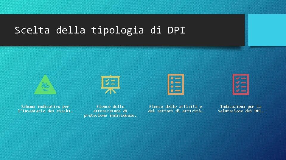 Scelta della tipologia di DPI Schema indicativo per l'inventario dei rischi. Elenco delle attrezzature