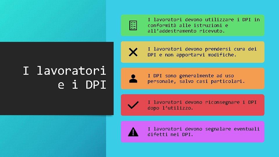 I lavoratori devono utilizzare i DPI in conformità alle istruzioni e all'addestramento ricevuto. I
