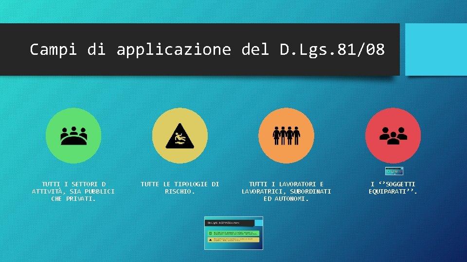 Campi di applicazione del D. Lgs. 81/08 TUTTI I SETTORI D ATTIVITÀ, SIA PUBBLICI