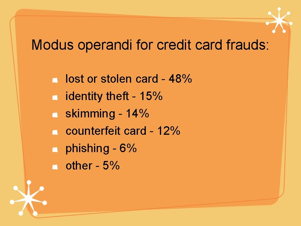Modus operandi for credit card frauds: lost or stolen card - 48% identity theft