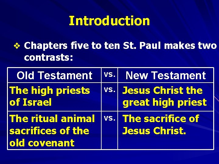 Introduction v Chapters five to ten St. Paul makes two contrasts: Old Testament The