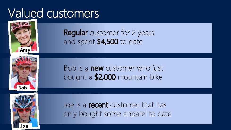 Regular customer for 2 years and spent $4, 500 to date Amy Bob is