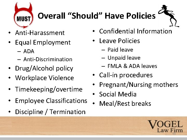 """Overall """"Should"""" Have Policies • Anti-Harassment • Equal Employment • Confidential Information • Leave"""