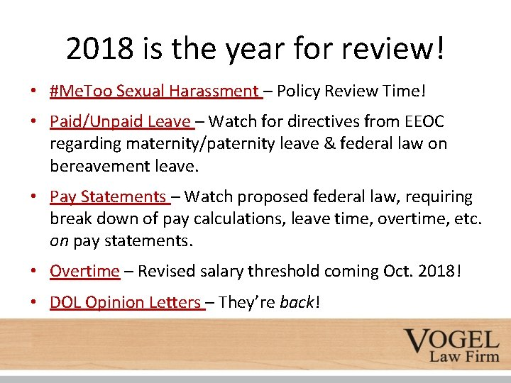 2018 is the year for review! • #Me. Too Sexual Harassment – Policy Review