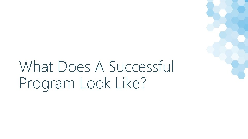 What Does A Successful Program Look Like?