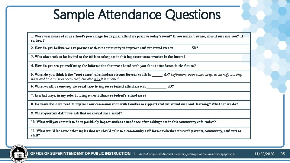 Sample Attendance Questions 1. Were you aware of your school's percentage for regular attenders