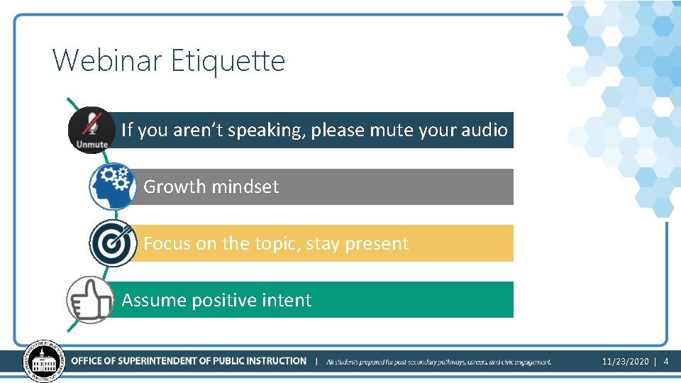 Webinar Etiquette If you aren't speaking, please mute your audio Growth mindset Focus on