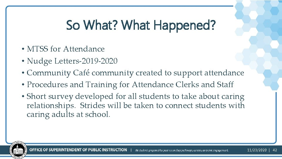So What? What Happened? • MTSS for Attendance • Nudge Letters-2019 -2020 • Community
