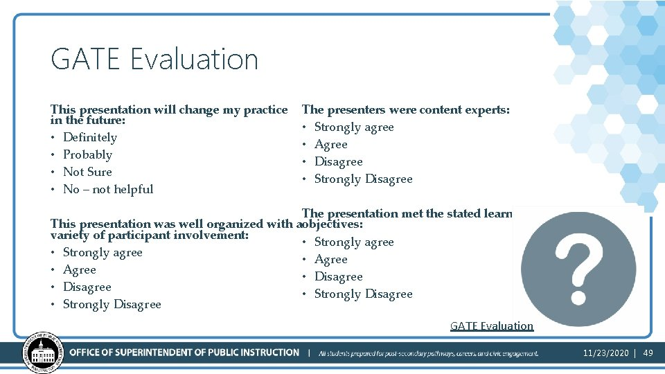 GATE Evaluation This presentation will change my practice in the future: • Definitely •