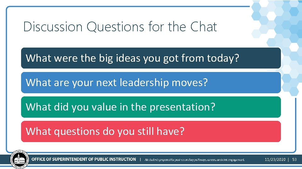 Discussion Questions for the Chat What were the big ideas you got from today?