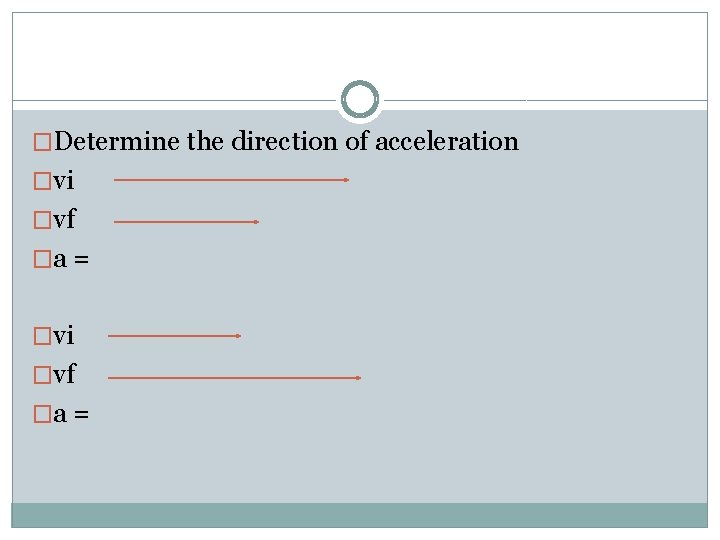�Determine the direction of acceleration �vi �vf �a =