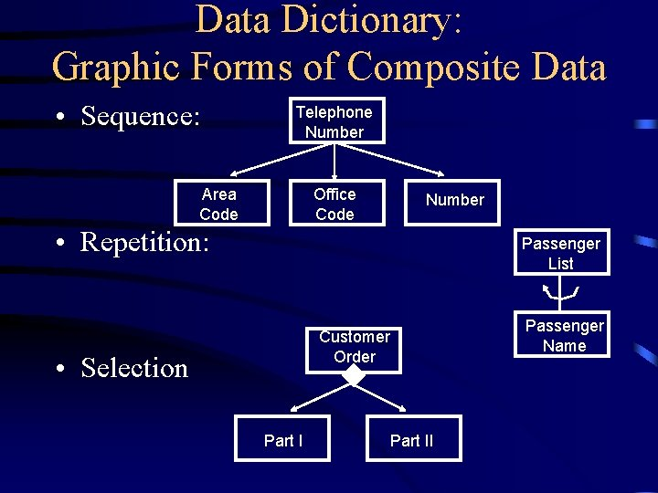 Data Dictionary: Graphic Forms of Composite Data • Sequence: Telephone Number Area Code Office