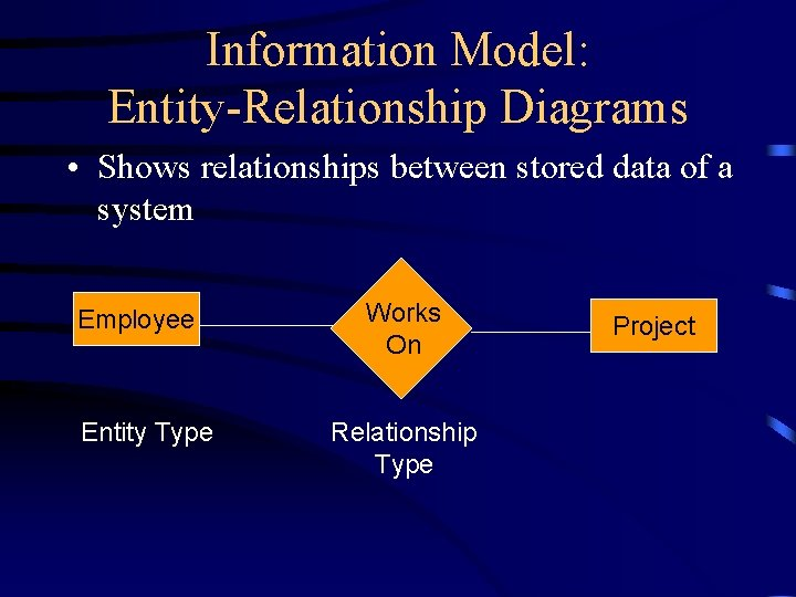 Information Model: Entity-Relationship Diagrams • Shows relationships between stored data of a system Employee